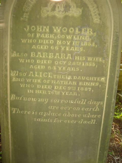 Gravestone Kildwick - John Wooler