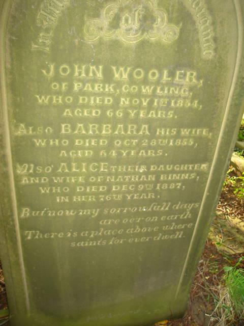 J Wooller Cowling Gravestone